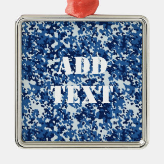 Digital Blue Military Pattern Christmas Ornament