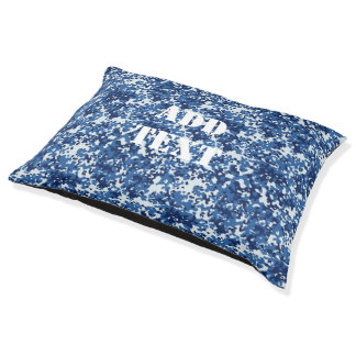 Digital Blue Military Pattern Pet Bed