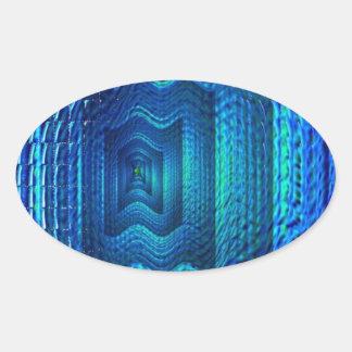 Digital blue multiple image oval sticker