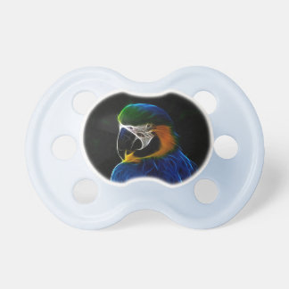 Digital blue parrot fractal baby dummy