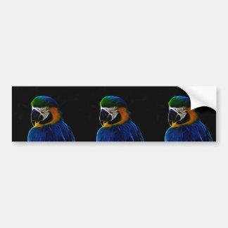 Digital blue parrot fractal bumper sticker