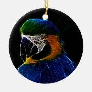 Digital blue parrot fractal christmas ornament