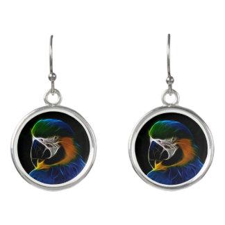 Digital blue parrot fractal earrings