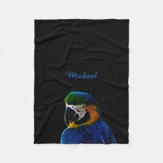 Digital blue parrot fractal fleece blanket