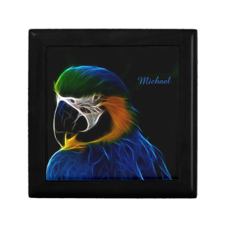 Digital blue parrot fractal gift box