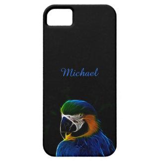Digital blue parrot fractal iPhone 5 covers