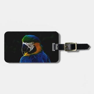 Digital blue parrot fractal luggage tag