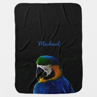 Digital blue parrot fractal name baby baby blanket