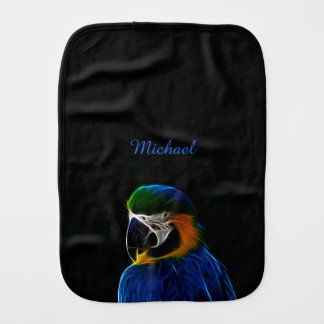 Digital blue parrot fractal name baby burp cloths