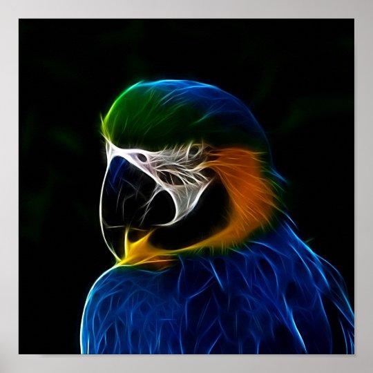 Digital blue parrot fractal poster