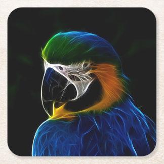 Digital blue parrot fractal square paper coaster