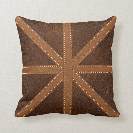 Digital Brown Leather Union Jack Cross Image Cushion