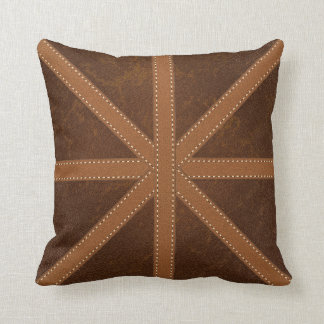 Digital Brown Leather Union Jack Cross Image Throw Pillow