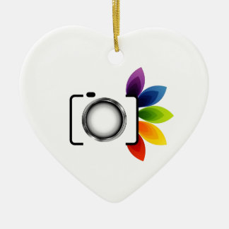 Digital camera with colorful leaves christmas ornament