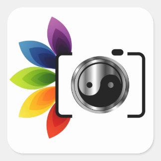Digital Camera with ying yang symbol Square Sticker