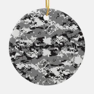 Digital camo Black white and grey Ornament