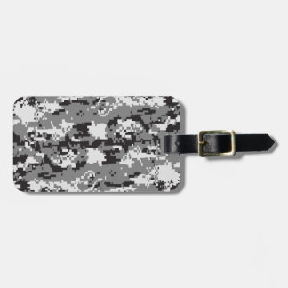 Digital camo Black white and grey Luggage Tag