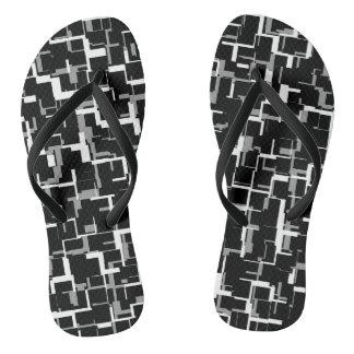 Digital Camo Black White Gray Pattern Flip Flops