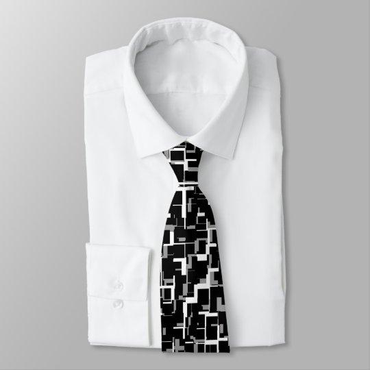 Digital Camo Black White Grey Pattern Tie