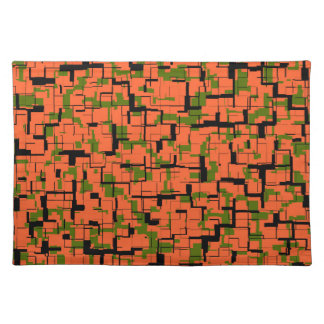 Digital Camo Green Orange Black Pattern Placemat