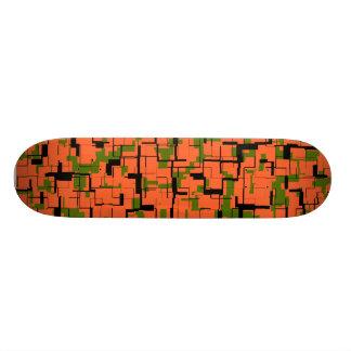 Digital Camo Green Orange Black Pattern Skate Boards