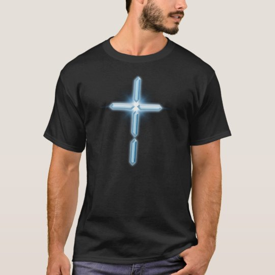 Digital Christian Cross Logo drk T-shirt design