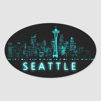 Digital Cityscape: Seattle, Washington Oval Sticker