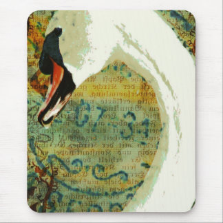 Digital Collage Swan Mouse Mat