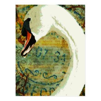 Digital Collage Swan Postcard