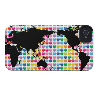 Digital Colorful Dots World Map iPhone 4 CaseMate iPhone 4 Covers