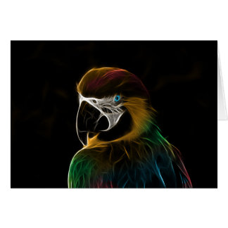 Digital colorful parrot fractal card