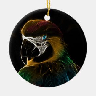 Digital colorful parrot fractal christmas ornament