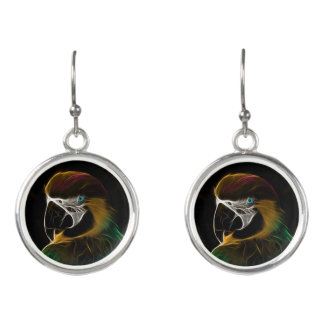 Digital colorful parrot fractal earrings