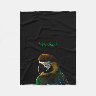 Digital colorful parrot fractal fleece blanket