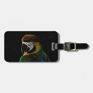 Digital colorful parrot fractal luggage tag