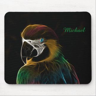 Digital colorful parrot fractal mouse mat