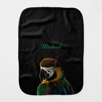 Digital colorful parrot fractal name baby burp cloth