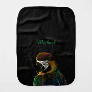 Digital colorful parrot fractal name baby burp cloths
