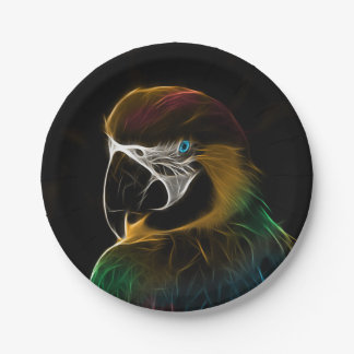 Digital colorful parrot fractal paper plate