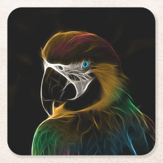 Digital colorful parrot fractal square paper coaster