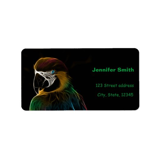 Digital colourful parrot fractal address label