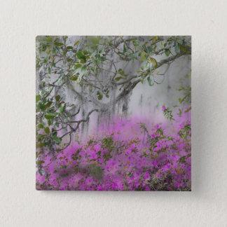 Digital Composite of Azaleas and magnolia tree 15 Cm Square Badge