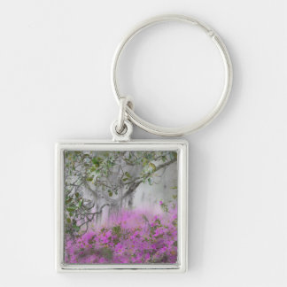 Digital Composite of Azaleas and magnolia tree Key Ring