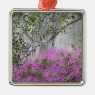 Digital Composite of Azaleas and magnolia tree Silver-Colored Square Decoration