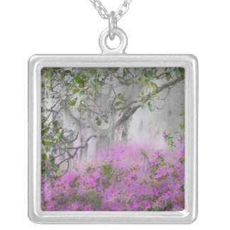 Digital Composite of Azaleas and magnolia tree Silver Plated Necklace
