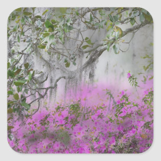 Digital Composite of Azaleas and magnolia tree Square Sticker