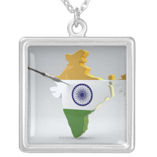 Digital Composite of India Silver Plated Necklace