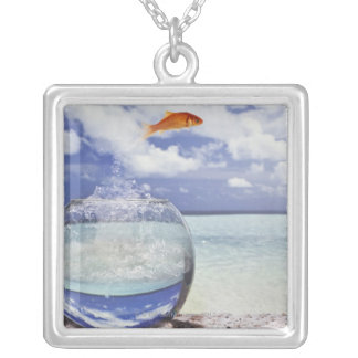 Digital composition silver plated necklace