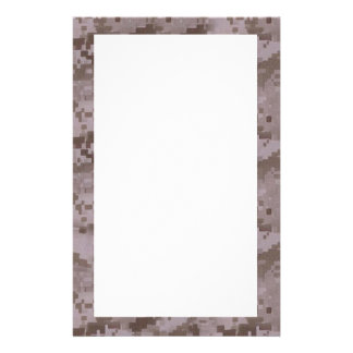 Digital Desert Camouflage with White Custom Stationery