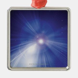 Digital Design Shining Star Silver-Colored Square Decoration